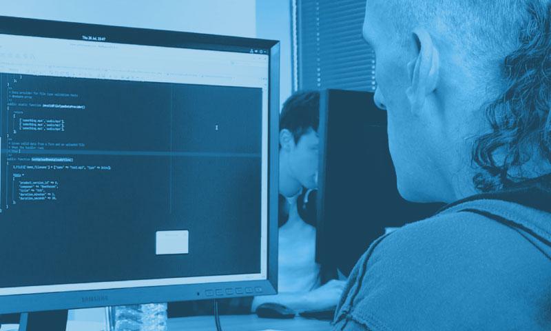 Developer coding