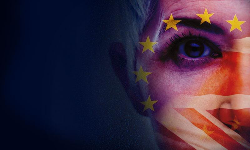 EU UK flag face lady