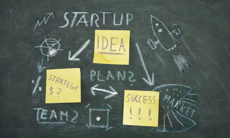 Blackboard with lean startup plan to market and rocket