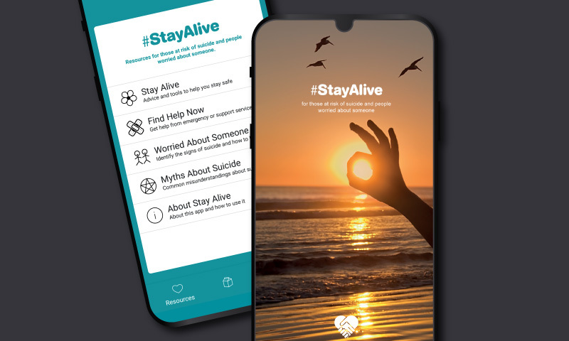 Stay Alive app screens 2016